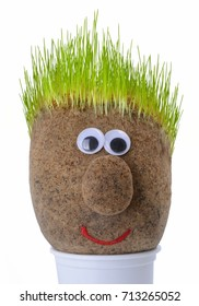 Head with grass on top