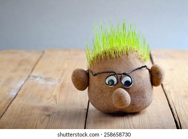 Head with grass on top on wooden table