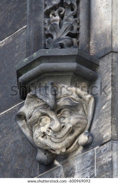Head of jester - Gothic architectural decoration - detail