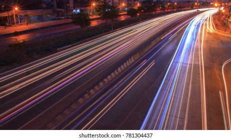 Head light of car on highway in twilight color, long exposure
