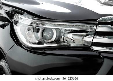 Head light of a pickup truck