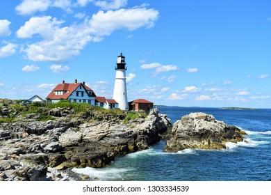 Head lighthouse in Portland Maine under blue sky