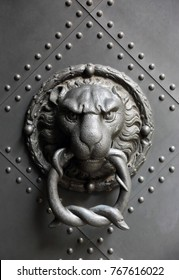 The head of a lion on a metal gate door