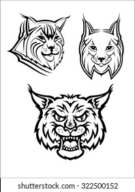 Head logo of a wild bobcat or lynx for mascot or wildlife design, isolated on white background