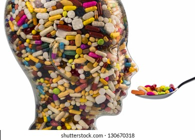 a head made of glass filled with many tablets. photo icon for drugs abuse and addiction tablets.
