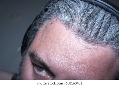 head of a man in headphones