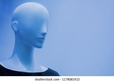 The head of a  mannequin on the background with empty place for an inscription