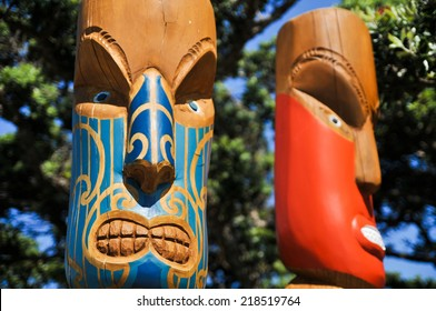 Head - Maori sculpture. New Zealand