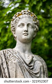 Head of marble statue of roman Ceres or greek Demeter in the park of the Palace and park complex Estate of G. Galagan. Sokyryntsi village, Ukraine