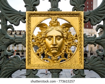 Head of Medusa Gorgon. Detail of the gates (1840) of the Royal Palace (Palazzo Reale) in Turin, Piedmont province, Italy.
