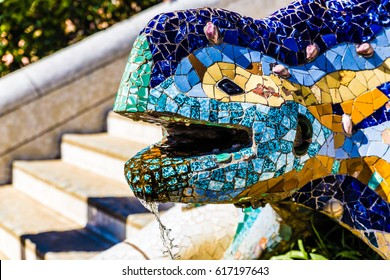"Head Of Multicolored Mosaic Salamander ""El Drac"" - Park Guell, Barcelona, Catalonia, Spain, Europe"