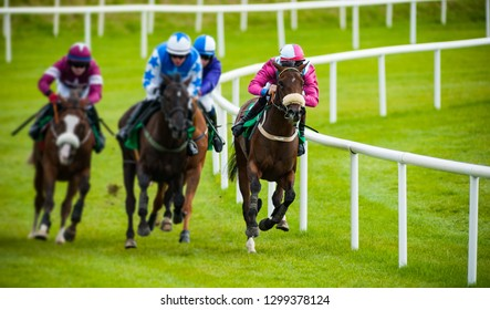 Head on view of galloping race horses and jockeys racing down the track
