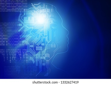 head outline with circuit board and number binary digit on blue background, Artificial intelligence or ai concept