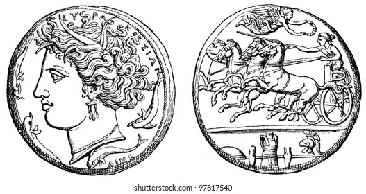 Head of Persephone, the victorious chariot, trophies, Dekadrahmon carver seals Eveneta Syracuse, about 400 BC - an illustration of the encyclopedia Education, St. Petersburg, Russian Empire, 1896