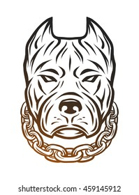 The head of a pit bull with a collar.  Line art style. Illustration vector copy.