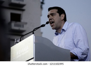 Head of radical left-wing Syriza party Alexis Tsipras speaks to his supporters during a rally at Aristotelous square in Thessaloniki, Greece on May 21, 2014
