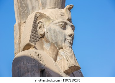 The head of Ramesses II in close up at the entrance of the temple of Luxor