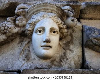 Head relief scluptures in Afrodisias