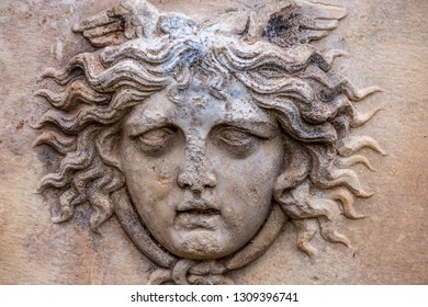 Head relief sculptures in Afrodisias Ancient City