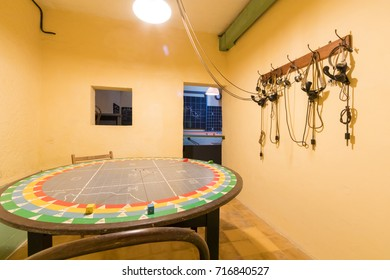 Head sets and table in the RAF Direction Control Room used to plan the defense of Malta and invasion of Sicily during world war two Headquarters Lascaris War Rooms, Valletta, Malta, June 2017
