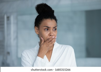 Head shot African woman feel stressed due life troubles divorce break up, make test unplanned pregnancy bad news, regret about mistake, mental disorder panic attack need counselor consultation concept