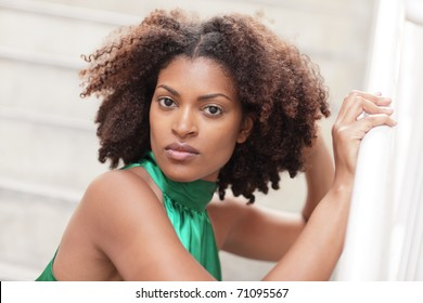 Head shot of an attractive ethnic model