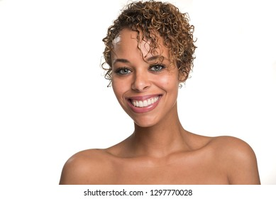 Head Shot of a Beautiful Woman Smiling Isolated on White - Looking Straight Ahead