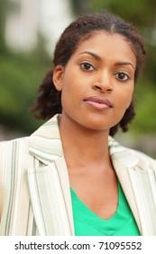 Head shot of a beautiful young black woman