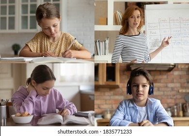 Head shot children student studying online with teacher, learning language, group video call, woman mentor explaining, making presentation, webinar, kids writing notes, homeschooling concept