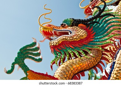 Head shot of colorful dragon statue with blue sky at public park, Thailand.