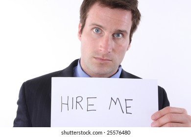 head shot of man hoping to get hired for work