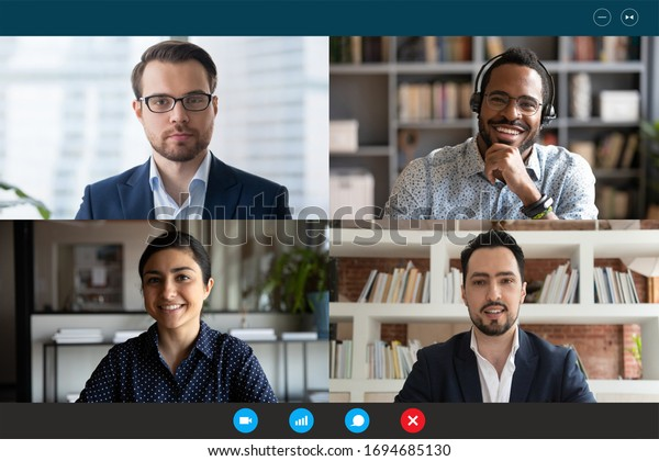 Head shot participants videoconference on-line meeting. Middle-east indian african european partners negotiating use videocall. Corporate staff solve issues remotely easy virtual communication concept