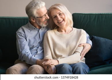 Head shot portrait of aged loving husband in glasses embracing smiling wife looking at camera, grey haired man and woman posing for family photo, mature couple having fun together at home