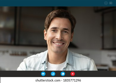 Head shot portrait device screen view smiling man making video call, looking at camera, using webcam and social media app, chatting talking with friends or relatives, engaged online conference