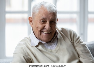 Head shot portrait of happy elderly 80s retired man relaxing on couch indoors. Smiling old mature grandfather looking at camera, feeling healthy alone at retirement house, good mood healthcare concept