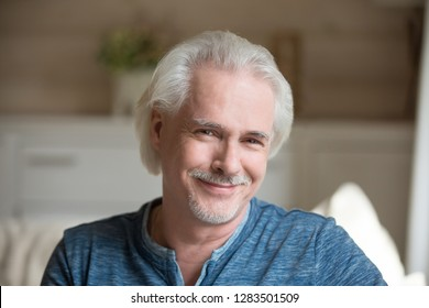 Head shot portrait of single handsome male sitting alone on couch in living room at country house in casual clothes smiling posing looking at camera. Successful healthy retired man full life concept