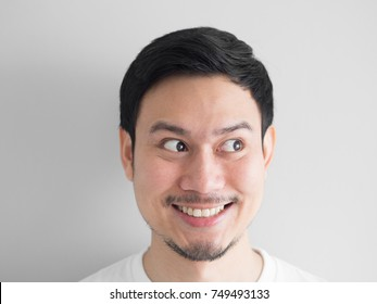 Head shot of surprised face Asian man.