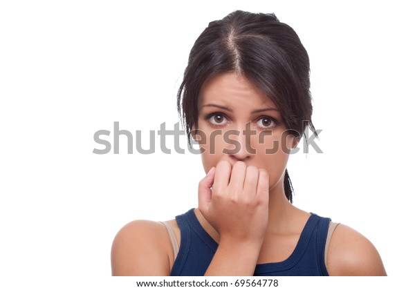 Head shot of worried woman over white background