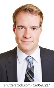 Head shot of young smiling business man in a suit