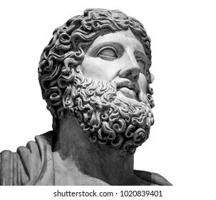 Head and shoulders detail of the ancient sculpture. Isolated on white background