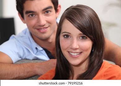 Head and shoulders of young couple