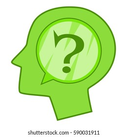 Head silhouette with question mark inside icon. Cartoon illustration of head silhouette with question mark inside  icon for web