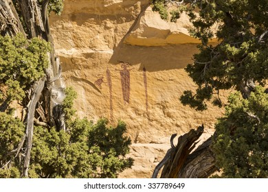'Head of SInbad' - a 3000 year old rock art pictograph  - an example of Barrier Canyon culture, seen through juniper trees in the San Rafael Swell in Southern Utah.