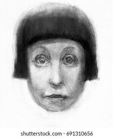 Head sketch in pencil. Rough quick sketch of a woman head, fantasy art.