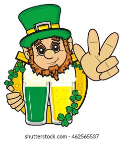 head of smiling St. patrick sticking from tne two different  glasses of beer and horseshoe on a green calendar