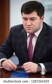 Head of the State Fiscal Service of Ukraine Roman Nasirov during a meeting with journalists in Kiev, Ukraine. March 2, 2016.