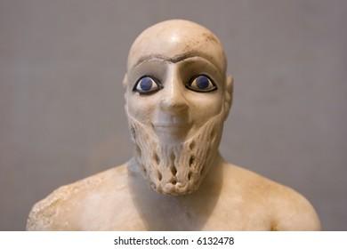 Head Statue of Ebih-il, Superintendent of Mari, ancient Iraq (circa 2400 BC)