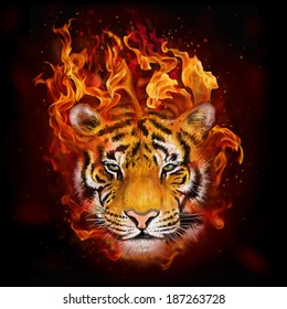 head of a tiger in flames digital painting/ head of a tiger in flames