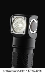Head torch lit, detailed LED flashlight