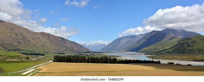 Head Waters of the Rangitata River and Mesopotamia Station  Panorama New Zealand
